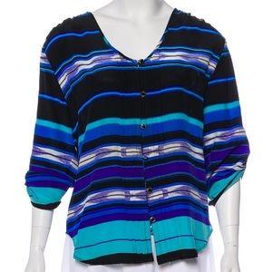 Yumi Kim Blouse Blue Stripes Silk Black XS Top